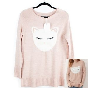 LAUREN CONRAD Soft Pink Fall Sweater Cat Small